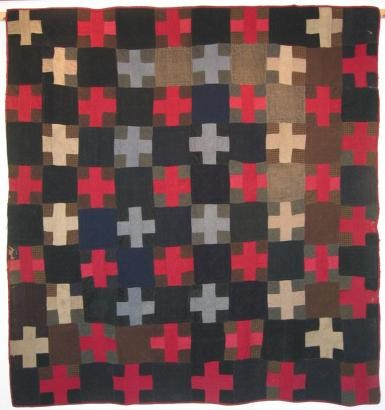 2006-2 blue cross wool flannel quilt